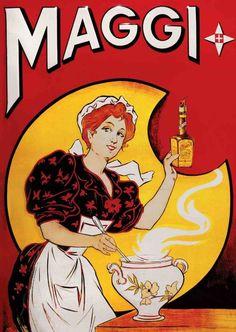 Cartel antiguo de la marca de caldos Maggi.