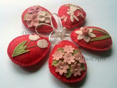 Felt easter decoration – red felt eggs with Easter bunny and spring flowers including tulips, daffodils and hydrangea flowers. Listing is for 5 ornaments If you would like a different combina…