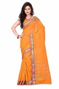 Adorable Orange Traditional Blended Cotton Saree Cotton Sarees on Shimply.com