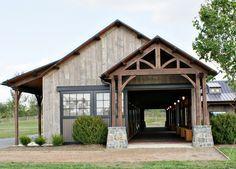 Barn with Craftsman style pillars.