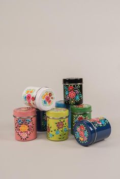 Kashmiri spice canister made from stainless steel, painted in folk designs and made for storing spices. Kitchen Containers, Kitchen Jars, Kitchen Dining, Kitchen Decor, Acrylic Paint Bottles, Bottle Painting, Painted Jars, Hand Painted, Storing Spices