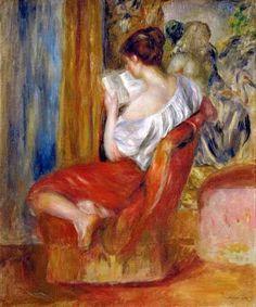 """""""Mujer leyendo"""".  Pierre-Auguste Renoir (25 de febrero de 1841 - 3 de diciembre de 1919)."""