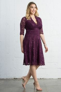 If you're shopping for a bridesmaid dress you can wear again, our Mademoiselle Lace Dress is a hit. This gorgeous dress is designed with scalloped lace and a flattering A-line silhouette. Available in other colors. Made exclusively for women's plus sizes. Shop our entire collection of plus size lace dresses at kiyonna.com. #plussizebridal #plussizebridesmaid #weddings