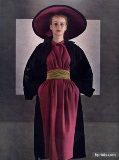 Christian Dior 1947 Winter Dress, Hat Fashion Photography