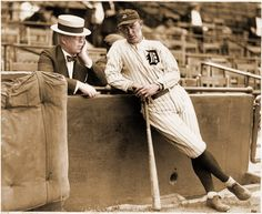 Frank Navin, Tigers owner, Conferring with his manager, Ty Cobb, 1921-22, Navin Field, Detroit.