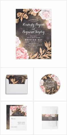 Pink and Gold Rustic Flowers Wreath Wedding Invitation Collection. Gold glitter, blush pink flowers rustic country invitation suite. #ad