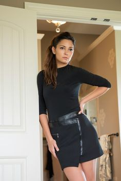Laundry By Shelli Segal Dress - A sleek jersey mock-neck top gives way to a decidedly edgier jacquard skirt, full of moto-inspired trimmings like asymmetrically placed faux leather.