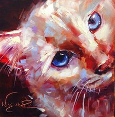 """""""ORIGINAL CONTEMPORARY WHITE CAT PAINTING in OILS by OLGA WAGNER"""" - Original Fine Art for Sale - ©Olga Wagner"""