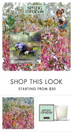 """""""Spring Meadow~~~Childhood Memory"""" by jewlsinbloom ❤ liked on Polyvore featuring interior, interiors, interior design, home, home decor, interior decorating, Henri Bendel, Flowers, etsy and handcrafted"""