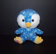 Build A Bear Buddies Snowdrift Penguin Blue Snowflake Plush Small 7""