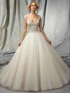 2015 Style A-line Straps Sweep/Brush Train Organza Wedding Dresses #DS407