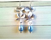 Orchid with Blue Pearl Silver Drop Earrings - Dangle earrings bridesmaid gifts,Wedding jewelry,flower girl,anniversary gift - Silver or gold
