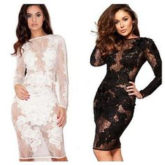 2015 New Explosion Models by Hand Stitching Lace Flowers Sexy Party Dress Bandage Dress YQ059 Perspective, $20.11 | DHgate.com