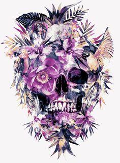 Momento Mori III Art Print #skull #art #society6 #home #decor #birds #tropical