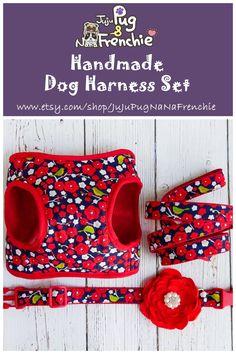 Plum Blossom Dog harness, Floral Girl dog harness leash set, Harness and leash, Dog collar flower, Girl dog harness #dogharness #dogcollar #dogleash