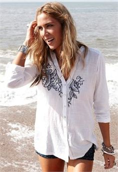 Nomads EF47 Embroidered Shirt £45.00  http://www.melburygallery.co.uk/shop/nomads/nomads-ef47-embroidered-shirt-.htm Nomads have again designed a winner with this fantastically practical but beautifully embroidered shirt. Long sleeves which can be rolled and buttoned to create a more relaxed sleeve. V-shaped neckline with button thru and the most gorgeous little mother of pearl buttons.  Perfect with jeans, perfect with shorts, perfect with a skirt ... simply perfect !