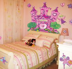 A pretty fairy theme little girls room ;-) Create-A-Mural - Fairy Castle Mural