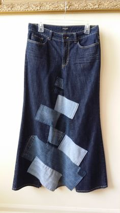 Women's Reconstructed DENIM MAXI Skirt with Denim PATCHWORK, Size 10/12 by SundayDoveDesigns on Etsy