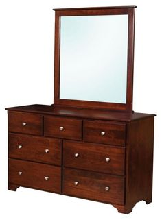 Amish Millerton 7-Drawer Dresser with Optional Mirror Amish Millerton 7-Drawer Dresser with Optional Mirror. Solid wood and Amish made to perform the best. Shown in brown maple wood with rich cherry stain. #DutchCrafters