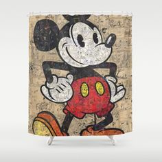 Old Mickey Mouse Shower Curtain Mickey Mouse Shower Curtain, Disney Bathroom, Next At Home, Coasters, Kids Rugs, Curtains, Home Decor, Blinds, Decoration Home