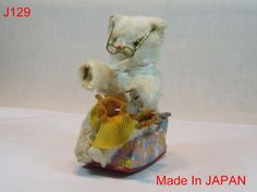 VINTAGE KNITTING GRANNY ROCKING BEAR TIN TOY JAPAN OLD ANTIQUE PIECE COOL
