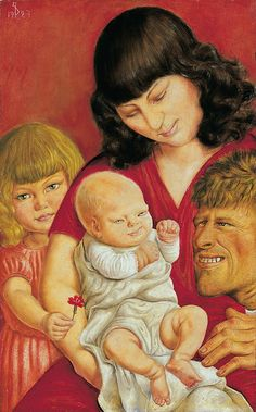 "Otto Dix The artist's family, 1927 - Otto Dix was one of the protagonists of ""New Objectivity"", a style already thus referred to in 1925. During and after World War I, he initially participated in the Dada revolts, but then came out in favour of an art without false feelings – and against one of deception or escape into illusions."