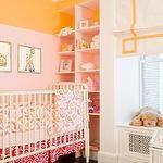 nurseries - pink built-ins two tone walls pink orange paint orange rug white roman shade yellow Greek key ribbon trim pattern pink orange crib bedding