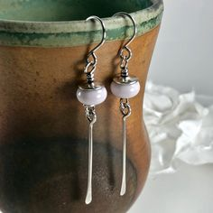 Sterling Silver Earrings Artisan Jewelry Wire Wrapped Glass Bead