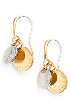 MARC BY MARC JACOBS Logo Disc Drop Earrings