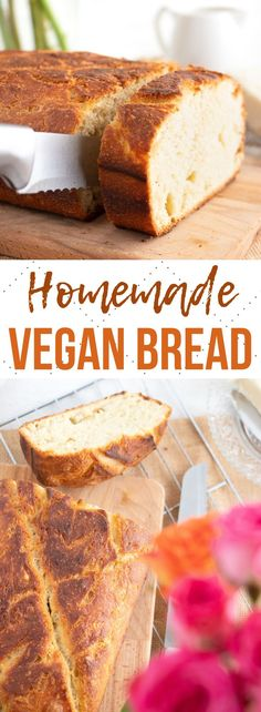 Homemade Vegan Bread (no dutch oven needed!) Simple and delicious homemade vegan bread recipe with only 5 ingredients! Crispy on the outside and soft and fluffy on the inside! Vegan Foods, Vegan Dishes, Vegan Meals, Vegan Dinner Recipes, Vegan Desserts, Health Desserts, Easy Bread Recipes, Baking Recipes, Vegan Banana Bread