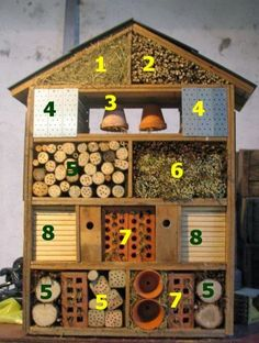 "6 things cool things to have in your garden for kids this summer! - Toby and Roo - Hotel de insectos. Cada ""habitación"" de este hotel atrae a un tipo de insecto, todos muy útil - Garden Crafts, Garden Projects, Garden Kids, Insect Crafts, Insect Art, Diy Garden Toys, Gardens For Kids, Gardening With Kids, School Gardens"