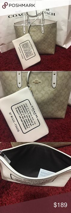 Coach set  tote khaki color Reversible 2 in 1 100% Authantic  new with tag coach tote Coach Bags Totes