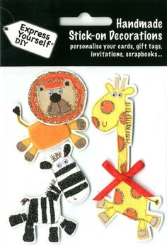 Express Yourself DIY, self adhesive, Giraffe, Lion & Zebra Topper - Ideal for Card Making, Scrapbooking, Papercrafts, Childrens Crafts etc: Amazon.co.uk: Kitchen & Home