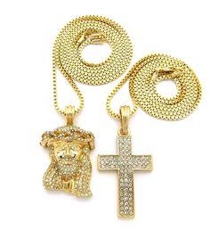 JESUS & CROSS PENDANT & BOX CHAIN NECKLACE SET