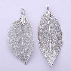 Amazon.com: 2pcs fashion Electroplated leaf pendant, Filigree Leaf Charm, Natural Real Leaf jewelry making, silver plated