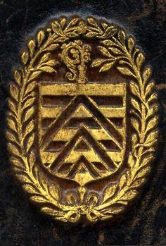 """Jean de La Rochefoucauld, 15..?-1583. Fils de François II de La Rochefoucauld et d'Anne de Polignac. Jean de La Rochefoucauld fut protonotaire du cardinal Charles de Lorraine, puis abbé de Marmoutier. Son frère François III pilla le monastère de Marmoutier avec les troupes de Condé en 1562. Le cardinal ne voulant plus le conserver, l'offrit alors à Jean… -- """"Burelé d'argent et d'azur, à trois chevrons de gueules brochants, le premier écimé""""."""