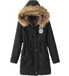 Yougao Womens Cottonpadded Coat Winter Coat Hood Parka Overcoat Long Jacket Black XXL *** Check out this great product.