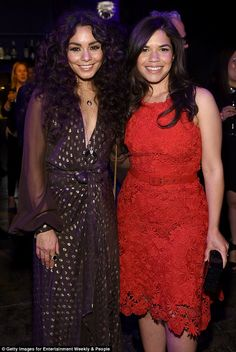 Red hot! The former Disney Channel star was spotted mingling with America Ferrera, 32, who looked stunning in a fitted lace dress
