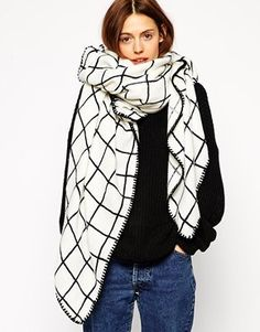 Asos Oversized Grid Check Square Scarf - White on shopstyle.com