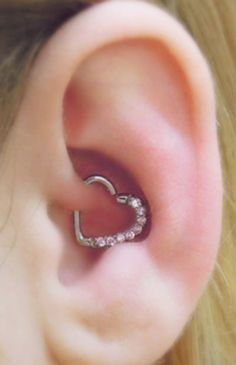 Cute Ear Piercing Ideas for Women - Pink Crystal Heart Rook and Daith Piercing Jewelry - MyBodiArt.com