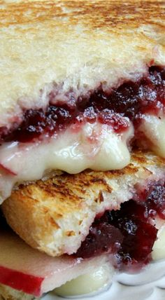 Brie, Apple and Cranberry Grilled Cheese recipe from RecipeGirl.com