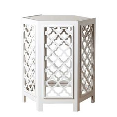 With a unique hexagonal shape, the Garland Mirrored End Table from Abbyson Living makes a striking statement in your living space. Constructed of iron, it has 6 lattice walls with posts and a mirrored top. Ideal next to your favorite chair or sofa. Living Room Sets, Living Spaces, Mirrored Accent Table, Accent Tables, Lattice Wall, White Mirror, End Tables With Storage, Colorful Furniture, Contemporary Furniture