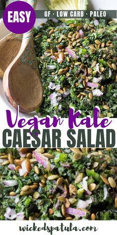Vegan Kale Caesar Salad - See how to make the BEST vegan kale Caesar salad recipe! Kale, spiced pepitas, + avocado slices are drizzled with the most addicting vegan Caesar salad dressing recipe ever. #wickedspatula #vegan #paleo #casesarsalad #easyrecipe