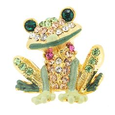 Green Frog Tag Pin Swarovski Crystal Animal Pin Brooch