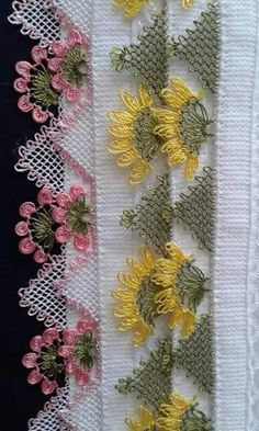 This Pin was discovered by Eli Embroidery Suits Design, Linen Towels, Needle Lace, Crochet Doilies, Floral Tie, Tatting, Knitting Patterns, Diy And Crafts, Indian Embroidery