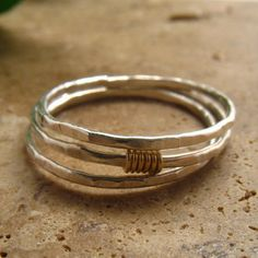 Sterling Silver Hammered Gold  Wrap Rings Set of 3 Stacking/Finger/Toe/Knuckle/Thumb on Etsy, $30.00