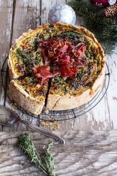 Deep Dish Spinach and Prosciutto Quiche with a Toasted Sesame Crust
