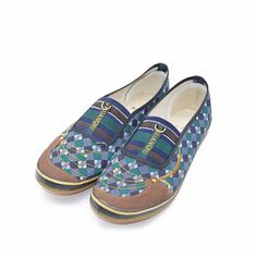Women Shoes Plaid Flat Stripe Slip On Canvas Flower Slip On Casual Stripe Button Flat Loafers Drving Many Style Retro Plimsolls