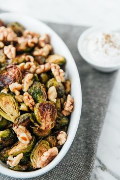 Recipe: Roasted Brussels Sprouts with Walnuts, Pomegranate Molasses & Shanklish — 5 Hanukkah Recipes from Amelia Saltsman | The Kitchn