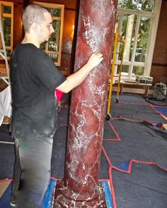 One of twelve plaster columns that we hand painted with a red marble finish in this private home pool area. We then gilt the capitals & bases. Interior Decorating, Interior Design, Stencil Art, Pool Houses, Paint Designs, Columns, Plaster, Interior Inspiration, Toronto